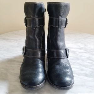 Paul Green Shoes - Paul Green Leather Buckle Moto Black Boots